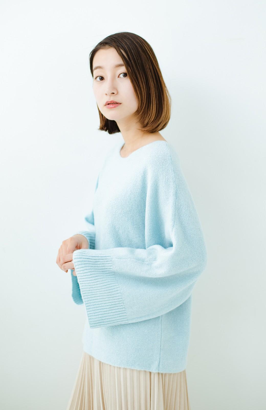 haco! 太め袖がかわいい横編みプルオーバーニット <ライトブルー>の商品写真1