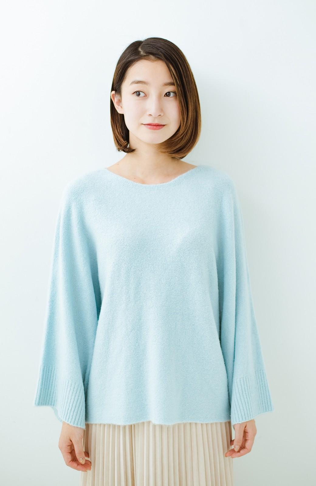 haco! 太め袖がかわいい横編みプルオーバーニット <ライトブルー>の商品写真15