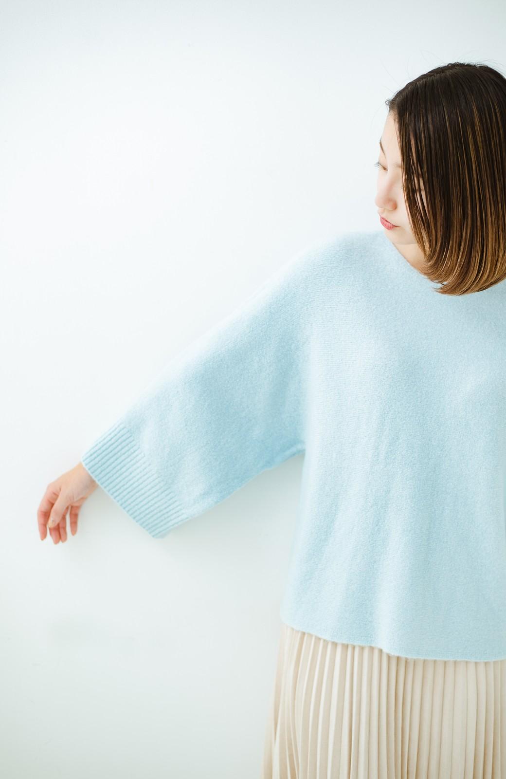 haco! 太め袖がかわいい横編みプルオーバーニット <ライトブルー>の商品写真16