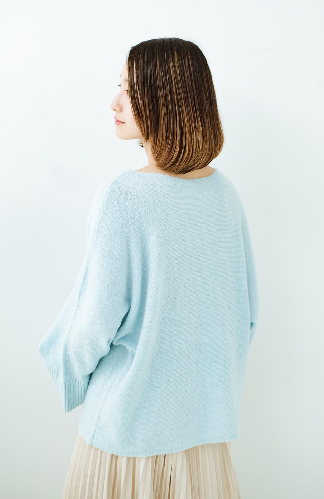 haco! 太め袖がかわいい横編みプルオーバーニット <ライトブルー>の商品写真17
