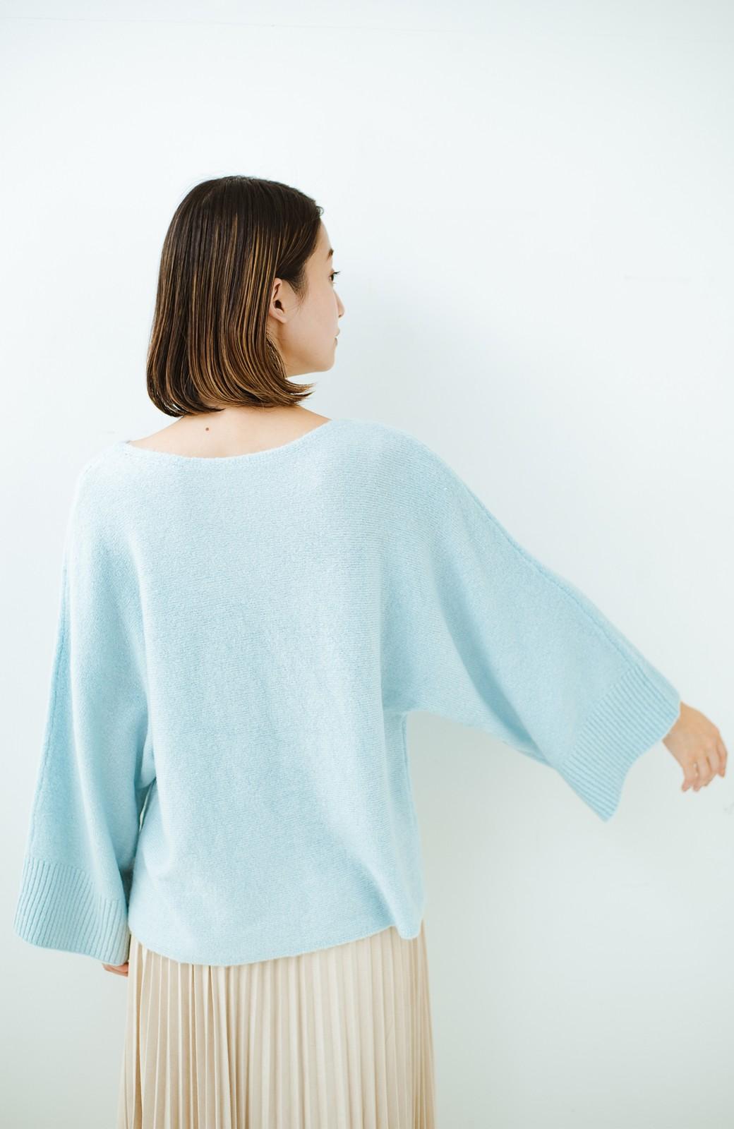haco! 太め袖がかわいい横編みプルオーバーニット <ライトブルー>の商品写真18
