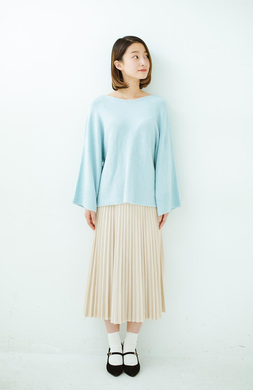 haco! 太め袖がかわいい横編みプルオーバーニット <ライトブルー>の商品写真8