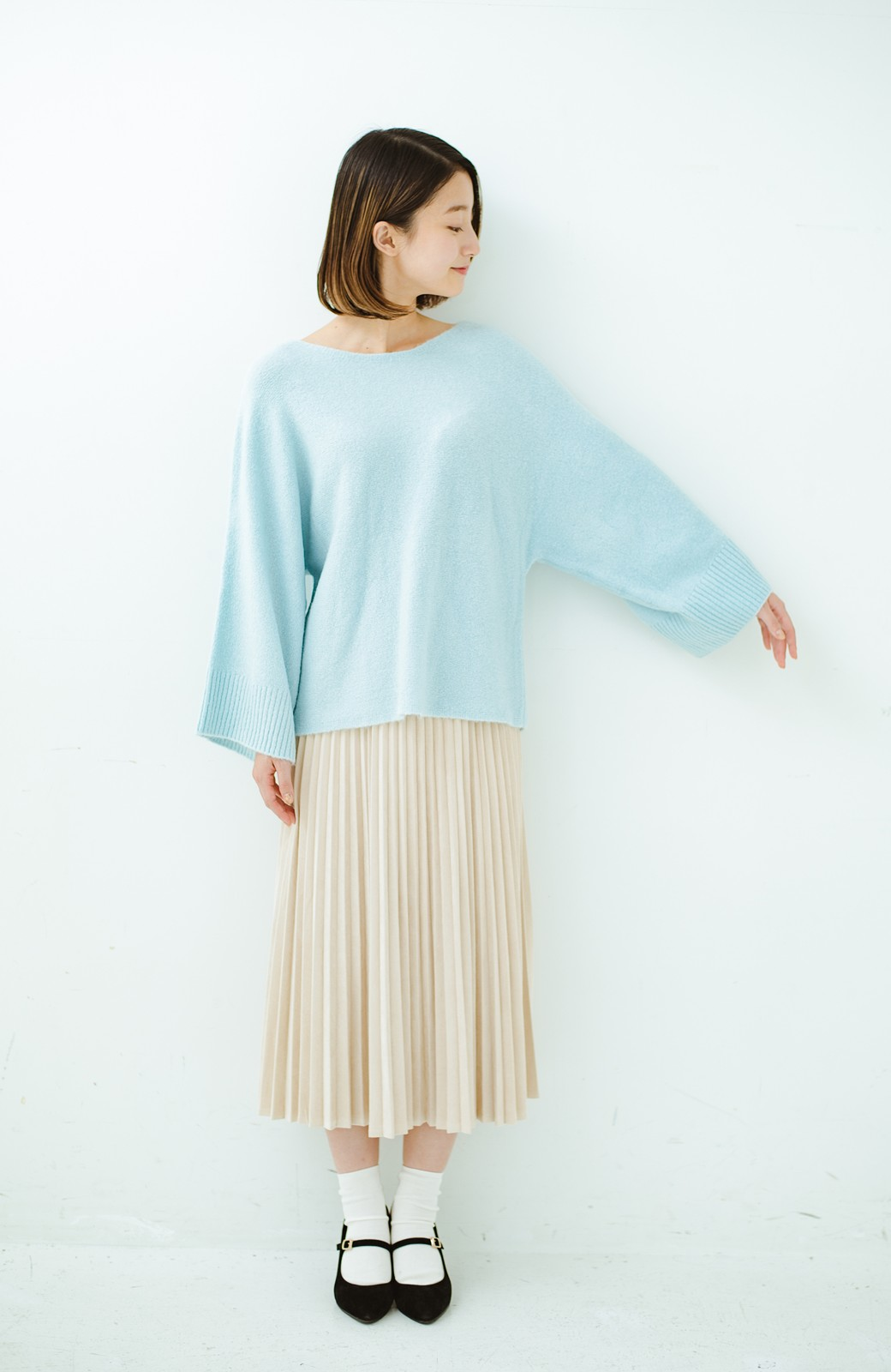 haco! 太め袖がかわいい横編みプルオーバーニット <ライトブルー>の商品写真9