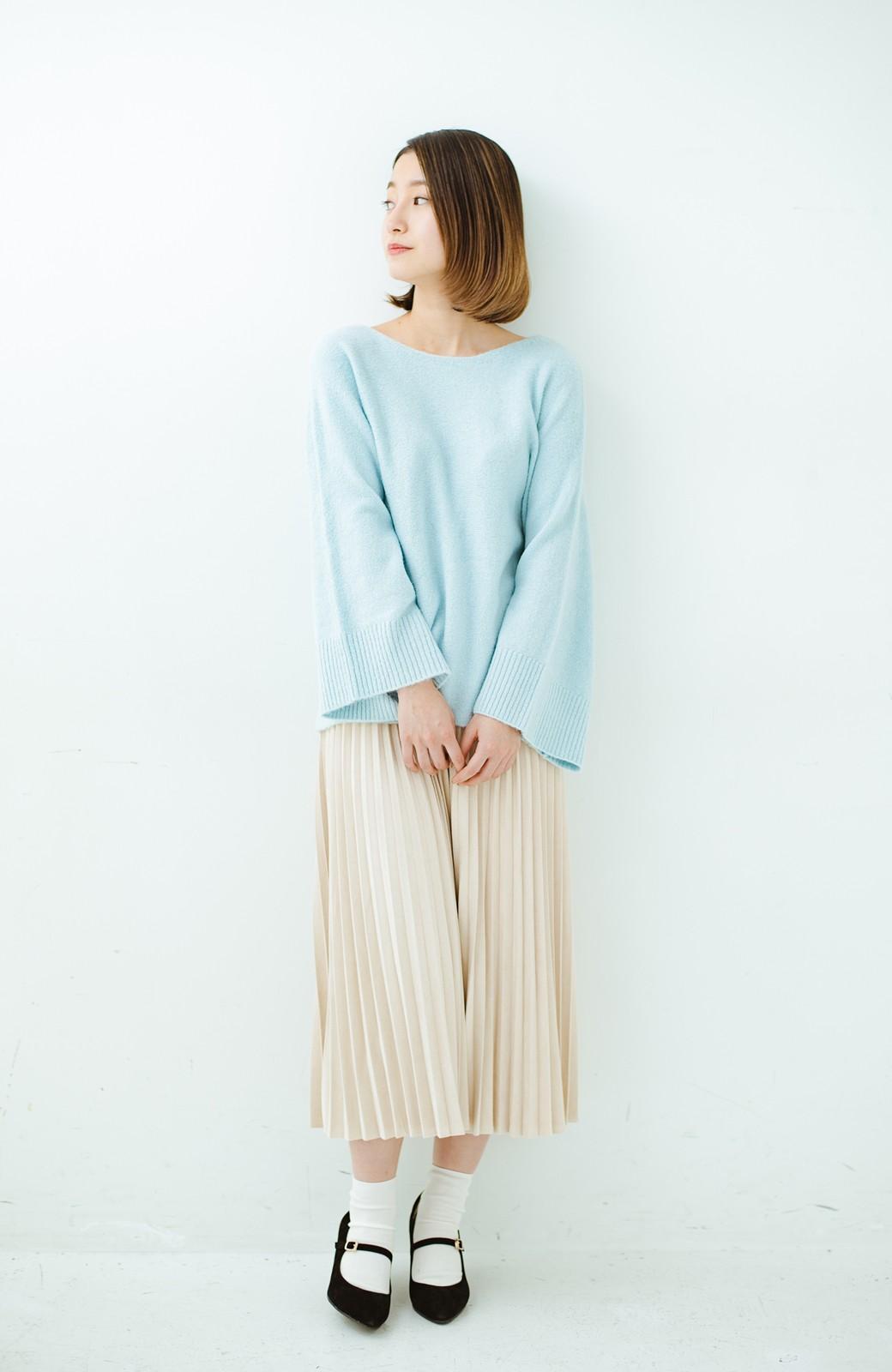 haco! 太め袖がかわいい横編みプルオーバーニット <ライトブルー>の商品写真10