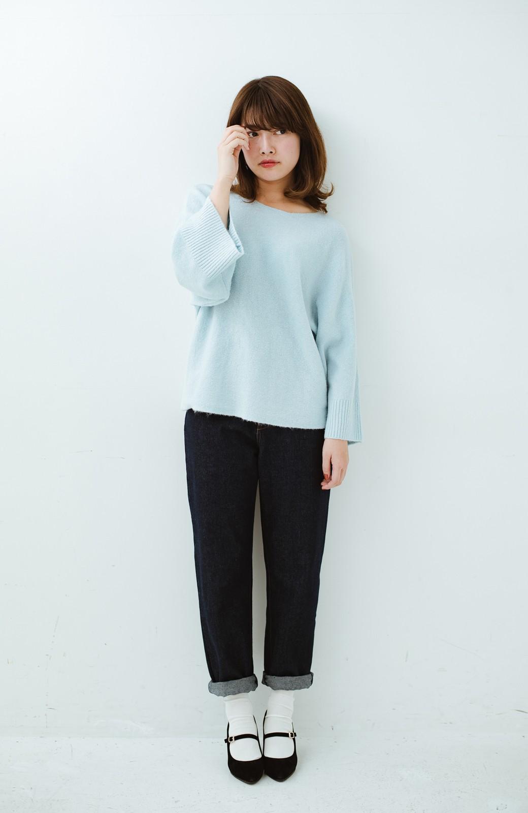 haco! 太め袖がかわいい横編みプルオーバーニット <ライトブルー>の商品写真12