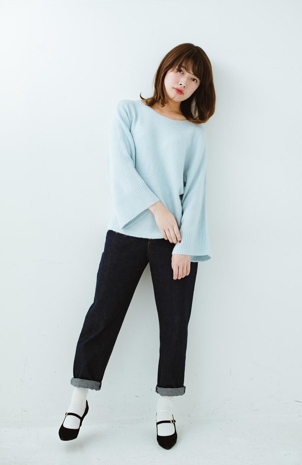 haco! 太め袖がかわいい横編みプルオーバーニット <ライトブルー>の商品写真13