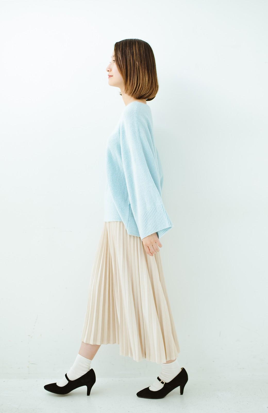 haco! 太め袖がかわいい横編みプルオーバーニット <ライトブルー>の商品写真14
