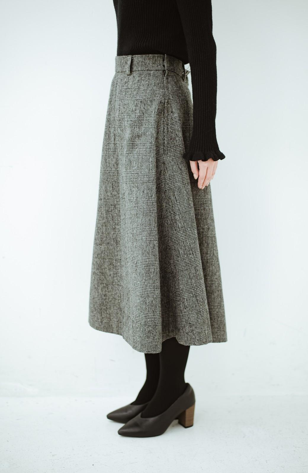 haco! グレンチェックのフレアースカート <ブラック×グレー>の商品写真3