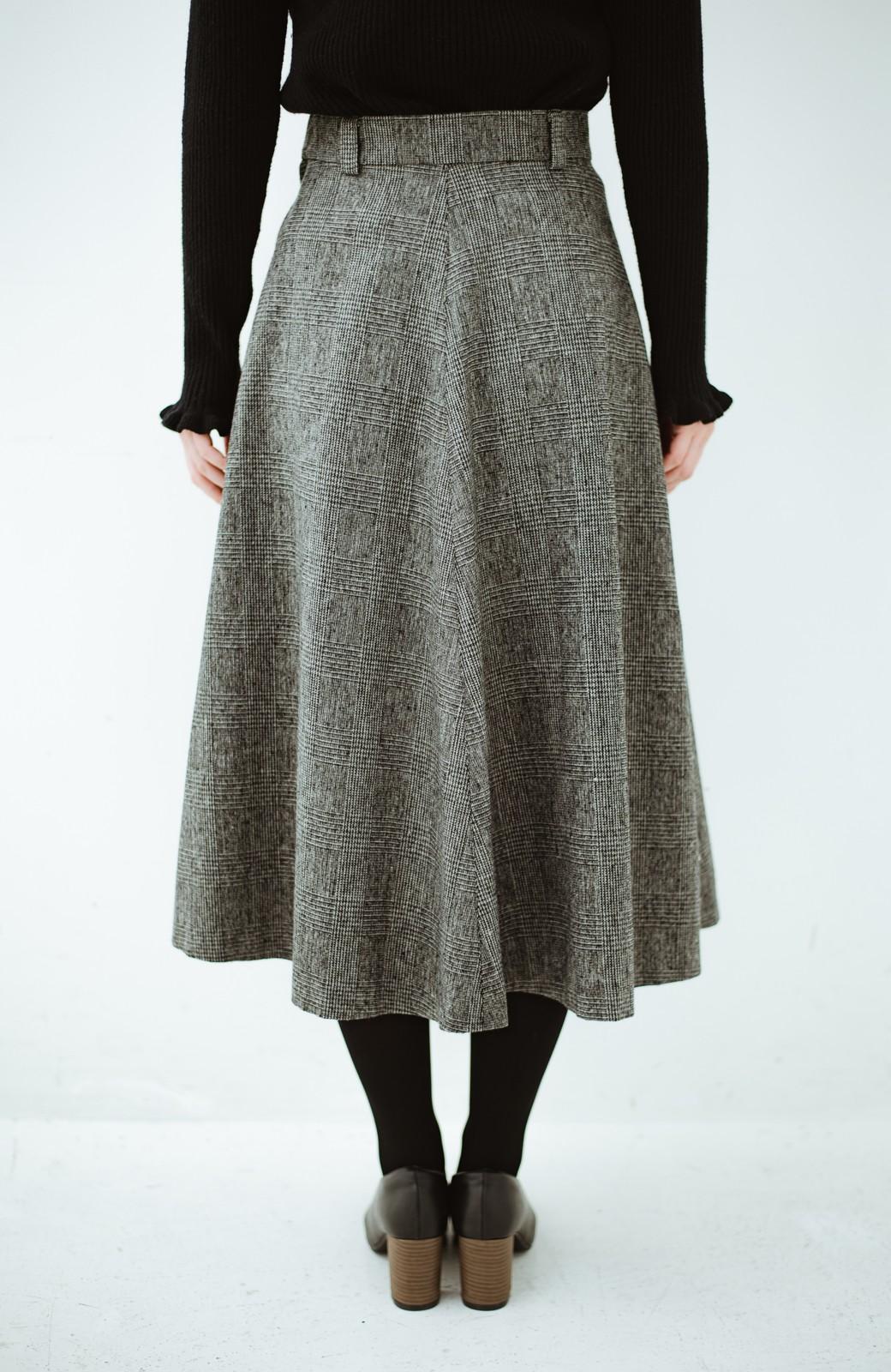 haco! グレンチェックのフレアースカート <ブラック×グレー>の商品写真4