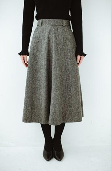 haco! グレンチェックのフレアースカート <ブラック×グレー>の商品写真