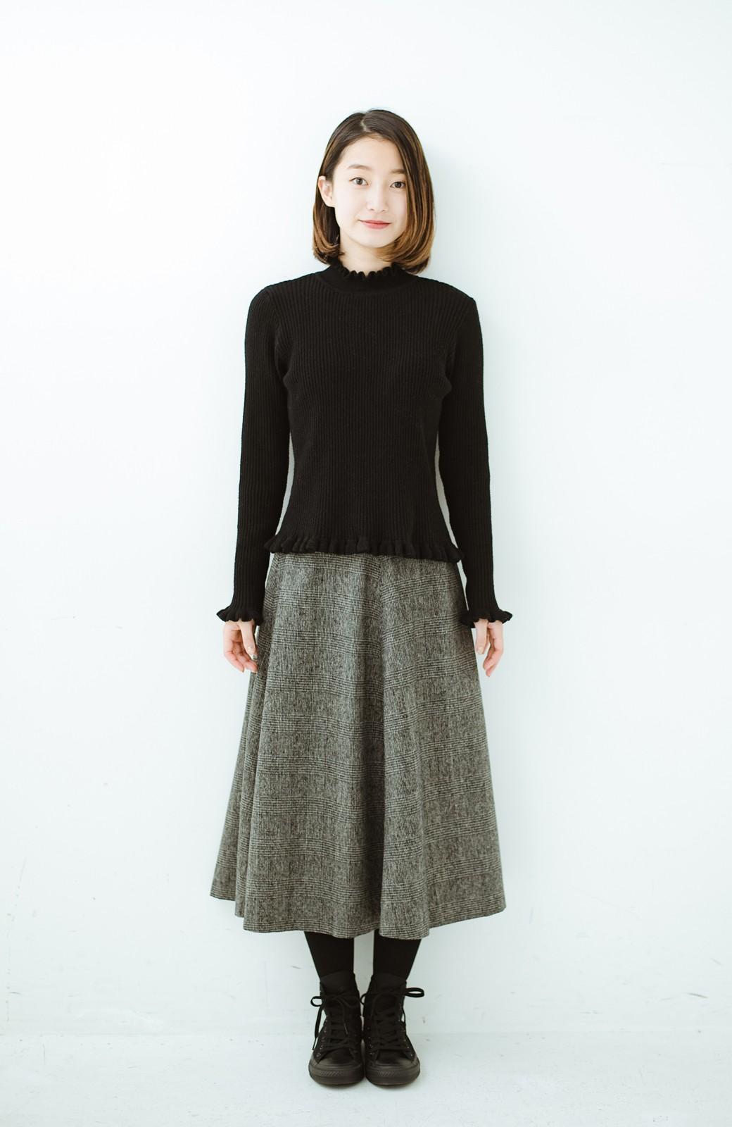 haco! グレンチェックのフレアースカート <ブラック×グレー>の商品写真7