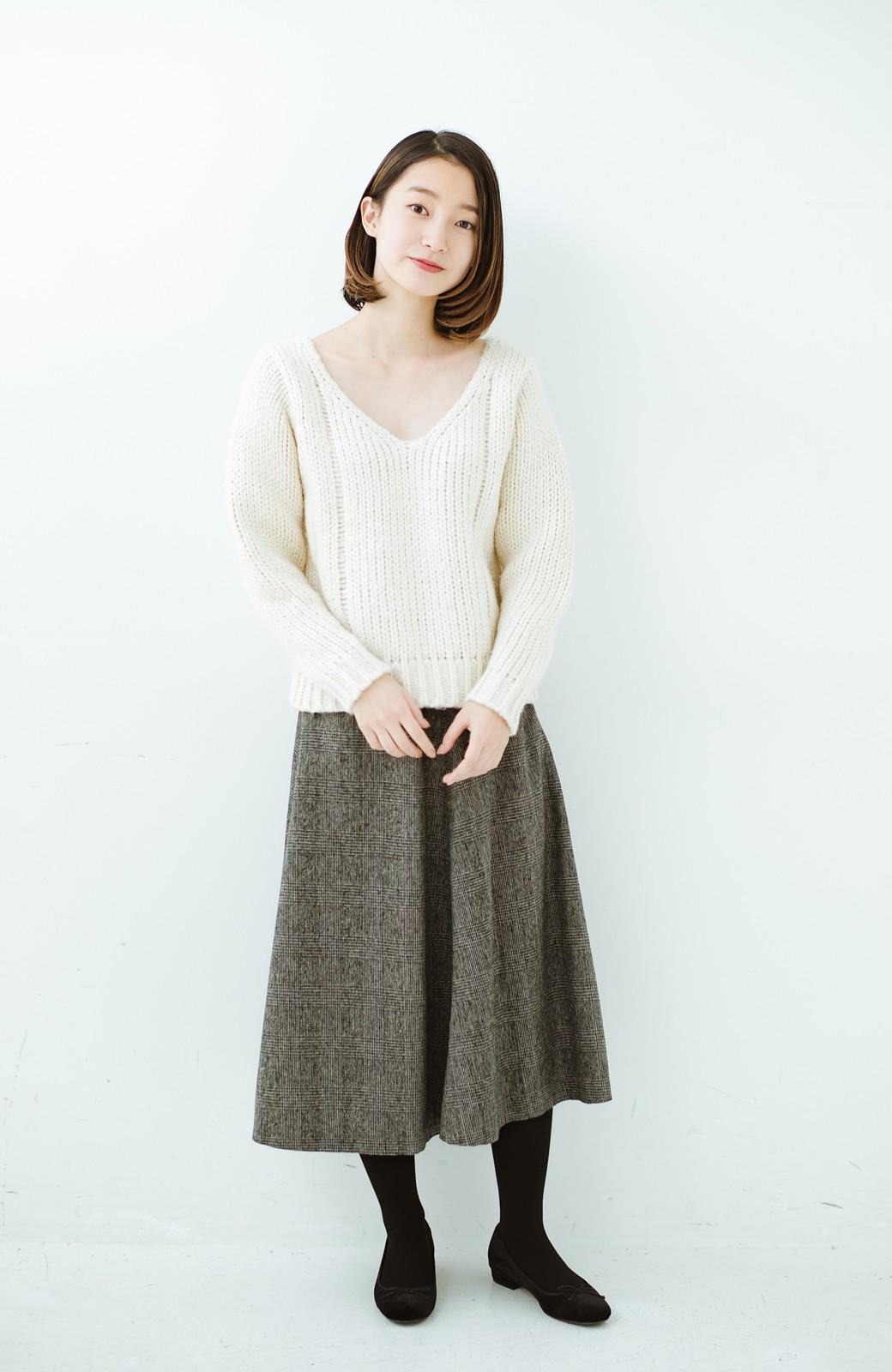 haco! グレンチェックのフレアースカート <ブラック×グレー>の商品写真8