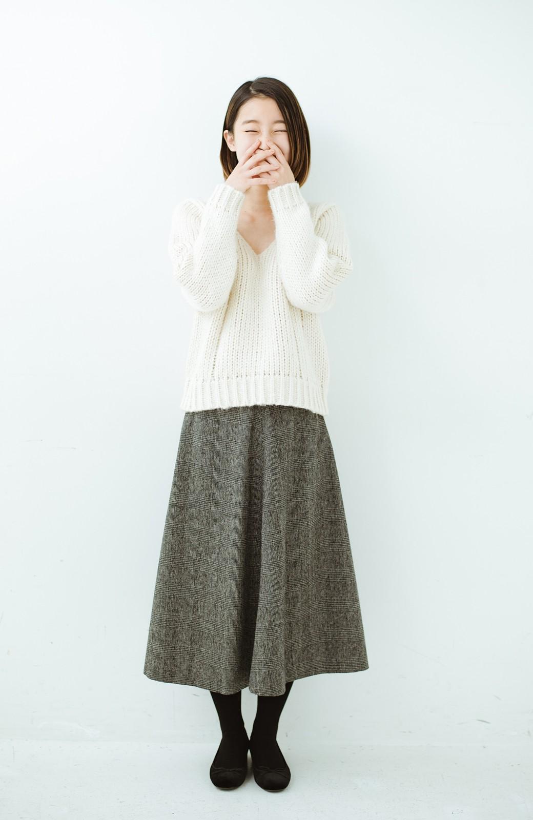 haco! グレンチェックのフレアースカート <ブラック×グレー>の商品写真9