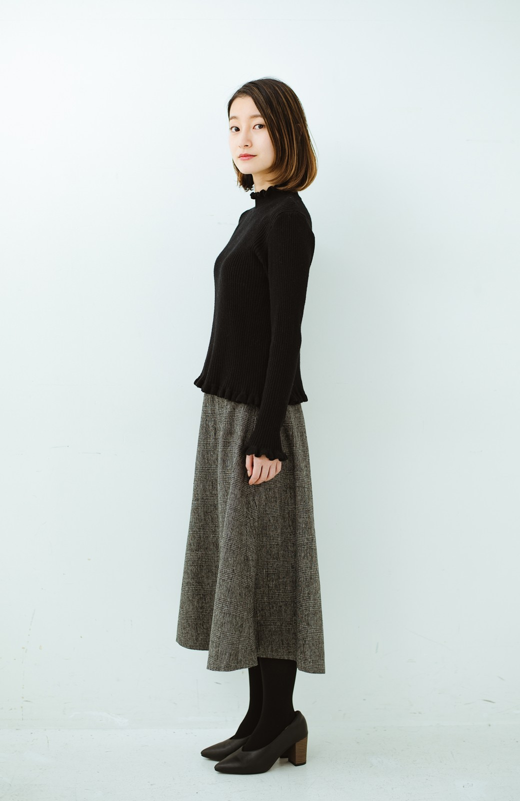 haco! グレンチェックのフレアースカート <ブラック×グレー>の商品写真10