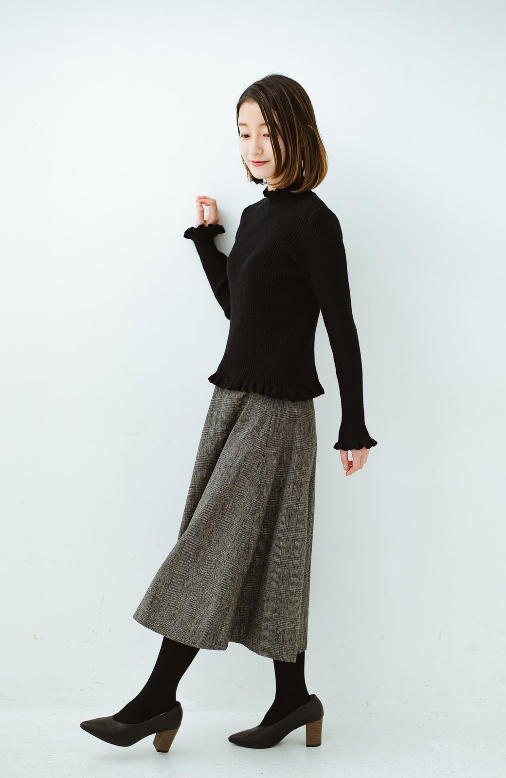 haco! グレンチェックのフレアースカート <ブラック×グレー>の商品写真11