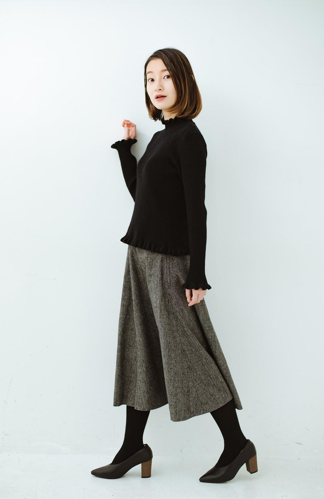 haco! グレンチェックのフレアースカート <ブラック×グレー>の商品写真12