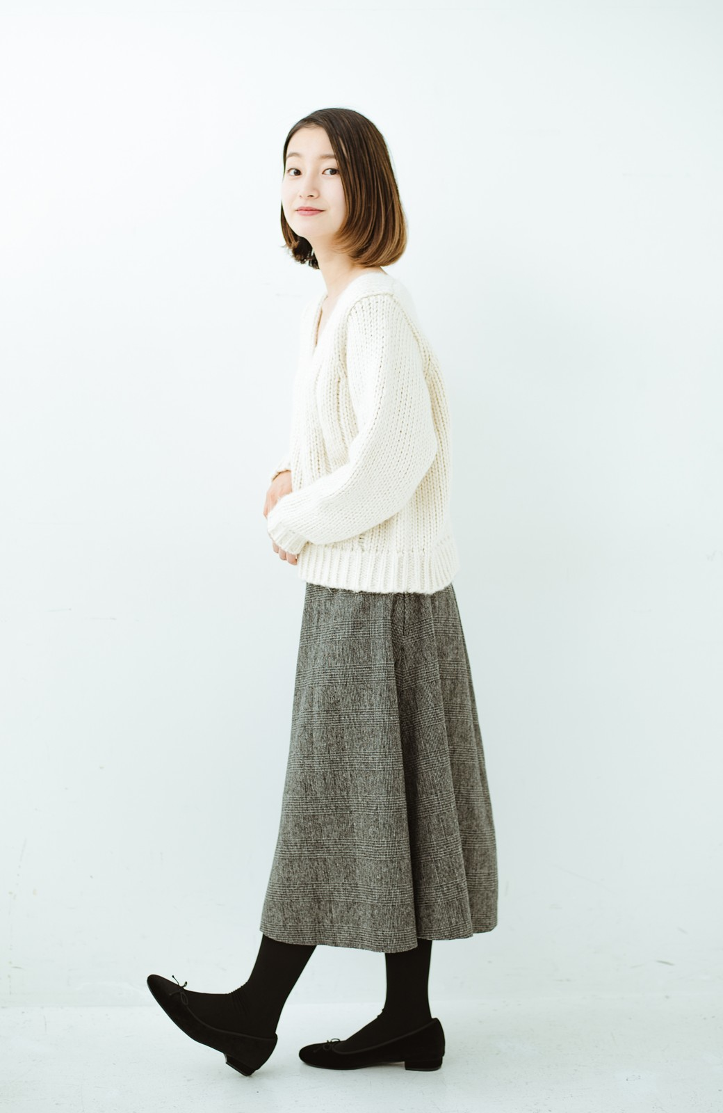 haco! グレンチェックのフレアースカート <ブラック×グレー>の商品写真13