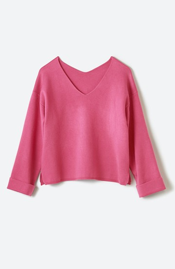haco! 折り返し袖のダブルVネックプルオーバーニット <ピンク>の商品写真