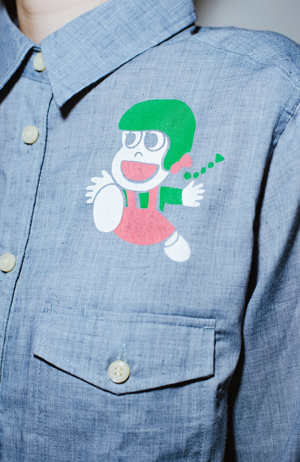haco! co&tion JUN OSONムラ素材ワークシャツ【アーティスト監修10点もの】 <ブルー>の商品写真3
