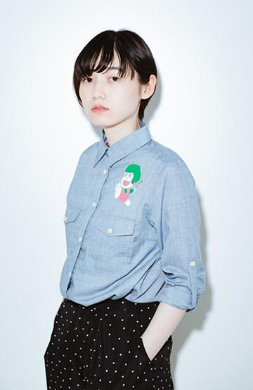 haco! co&tion JUN OSONムラ素材ワークシャツ【アーティスト監修10点もの】 <ブルー>の商品写真