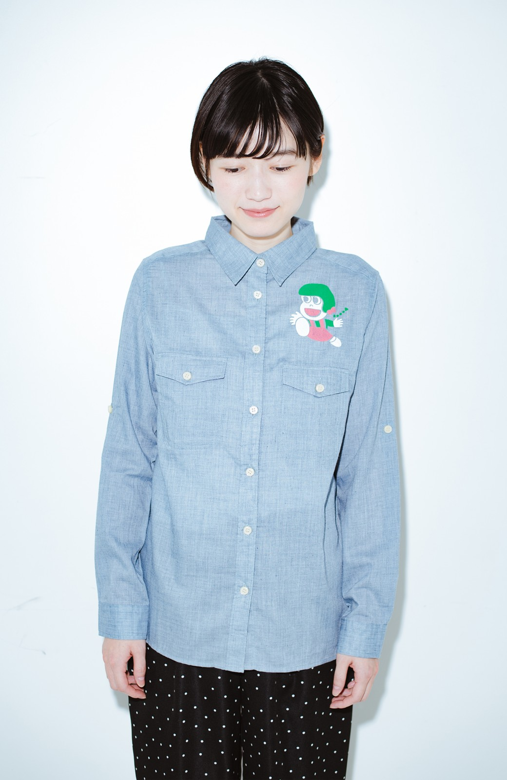 haco! co&tion JUN OSONムラ素材ワークシャツ【アーティスト監修10点もの】 <ブルー>の商品写真6