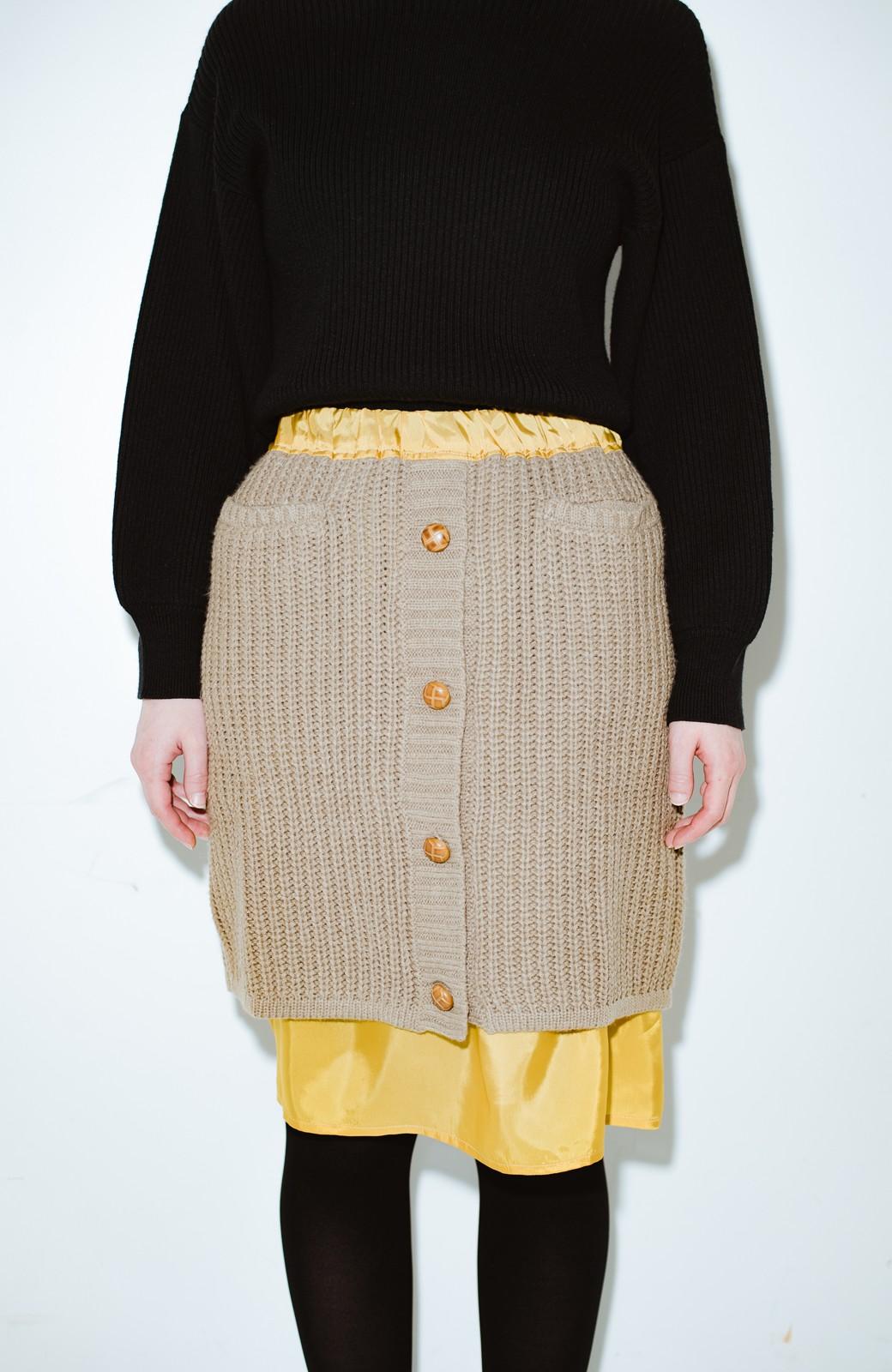 haco! co&tion POTTOニットスカート【アーティスト作品1点もの】 <ライトブラウン>の商品写真2