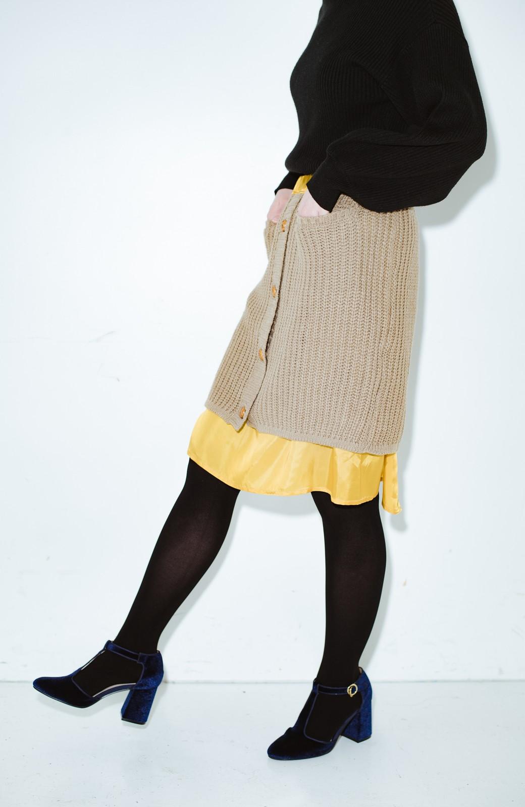 haco! co&tion POTTOニットスカート【アーティスト作品1点もの】 <ライトブラウン>の商品写真1