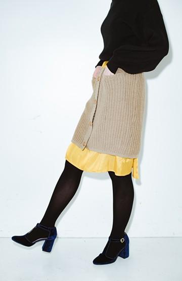 haco! co&tion POTTOニットスカート【アーティスト作品1点もの】 <ライトブラウン>の商品写真