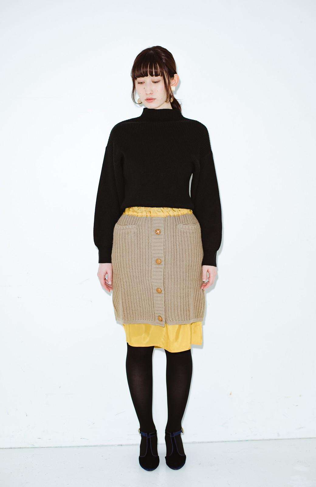 haco! co&tion POTTOニットスカート【アーティスト作品1点もの】 <ライトブラウン>の商品写真5