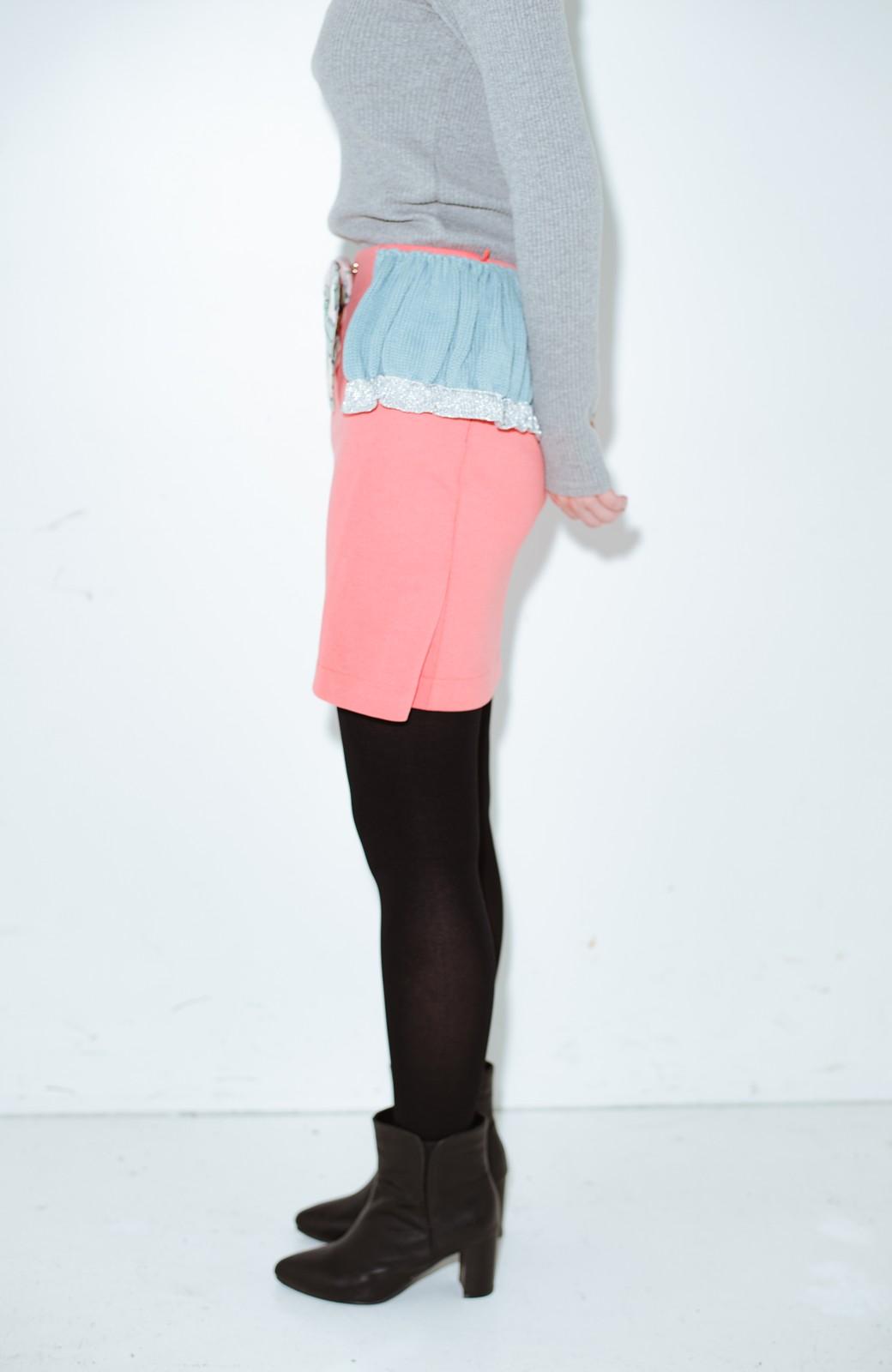 haco! co&tion accoニットフリルのスカート【アーティスト作品1点もの】 <サーモンピンク>の商品写真3