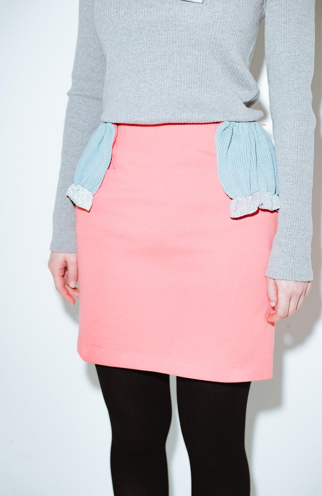 haco! co&tion accoニットフリルのスカート【アーティスト作品1点もの】 <サーモンピンク>の商品写真4