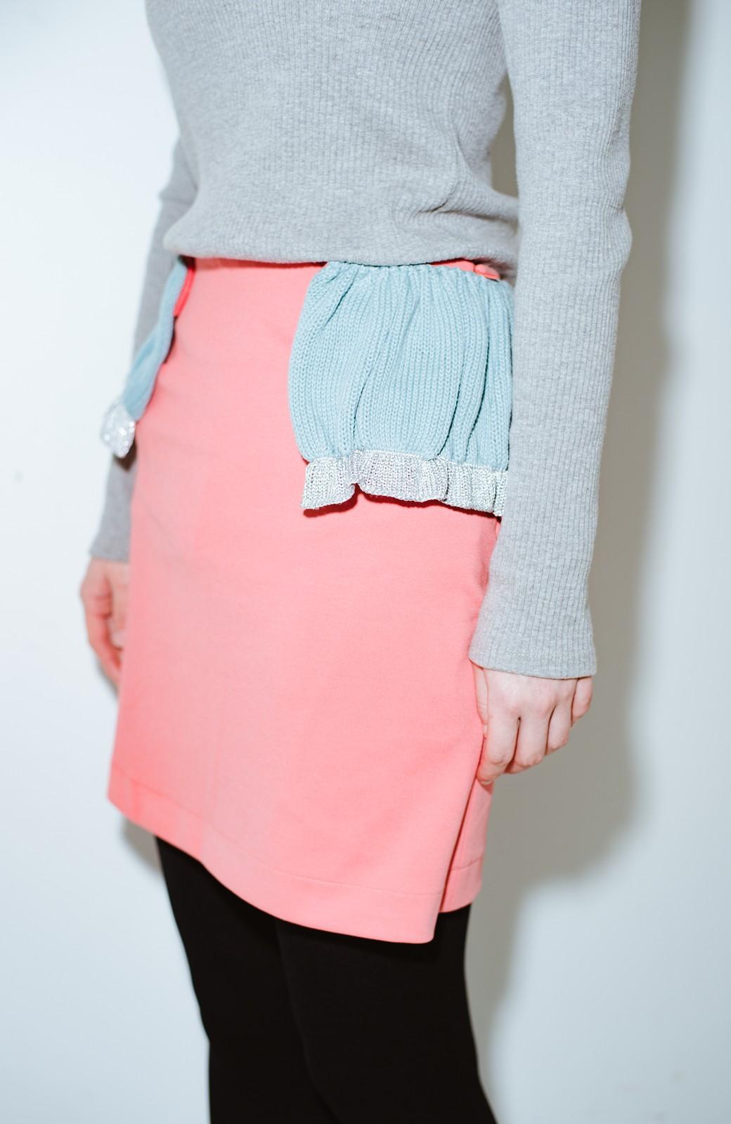 haco! co&tion accoニットフリルのスカート【アーティスト作品1点もの】 <サーモンピンク>の商品写真5