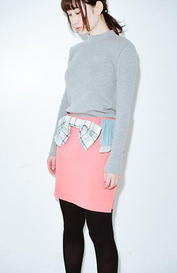 haco! co&tion accoニットフリルのスカート【アーティスト作品1点もの】 <サーモンピンク>の商品写真