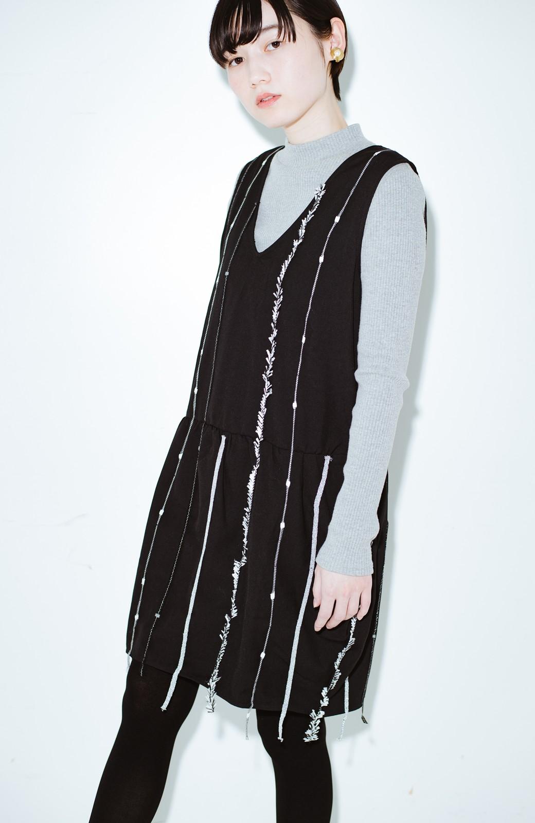 haco! co&tion 田中佑佳Zebra(09 milling crowd)黒ワンピ【アーティスト監修10点もの】 <ブラック>の商品写真8