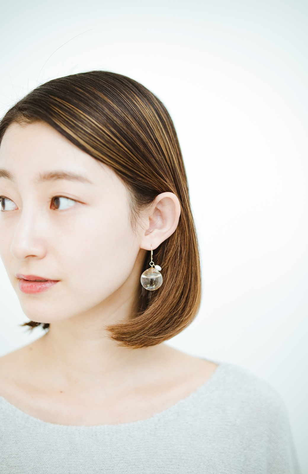 haco! てとひとて KANA MATSUNAMI チャリティー企画 Glass dome  French hookピアス <ゴールド>の商品写真6