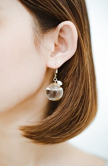 haco! てとひとて KANA MATSUNAMI チャリティー企画 Glass dome  French hookピアス <ゴールド>の商品写真