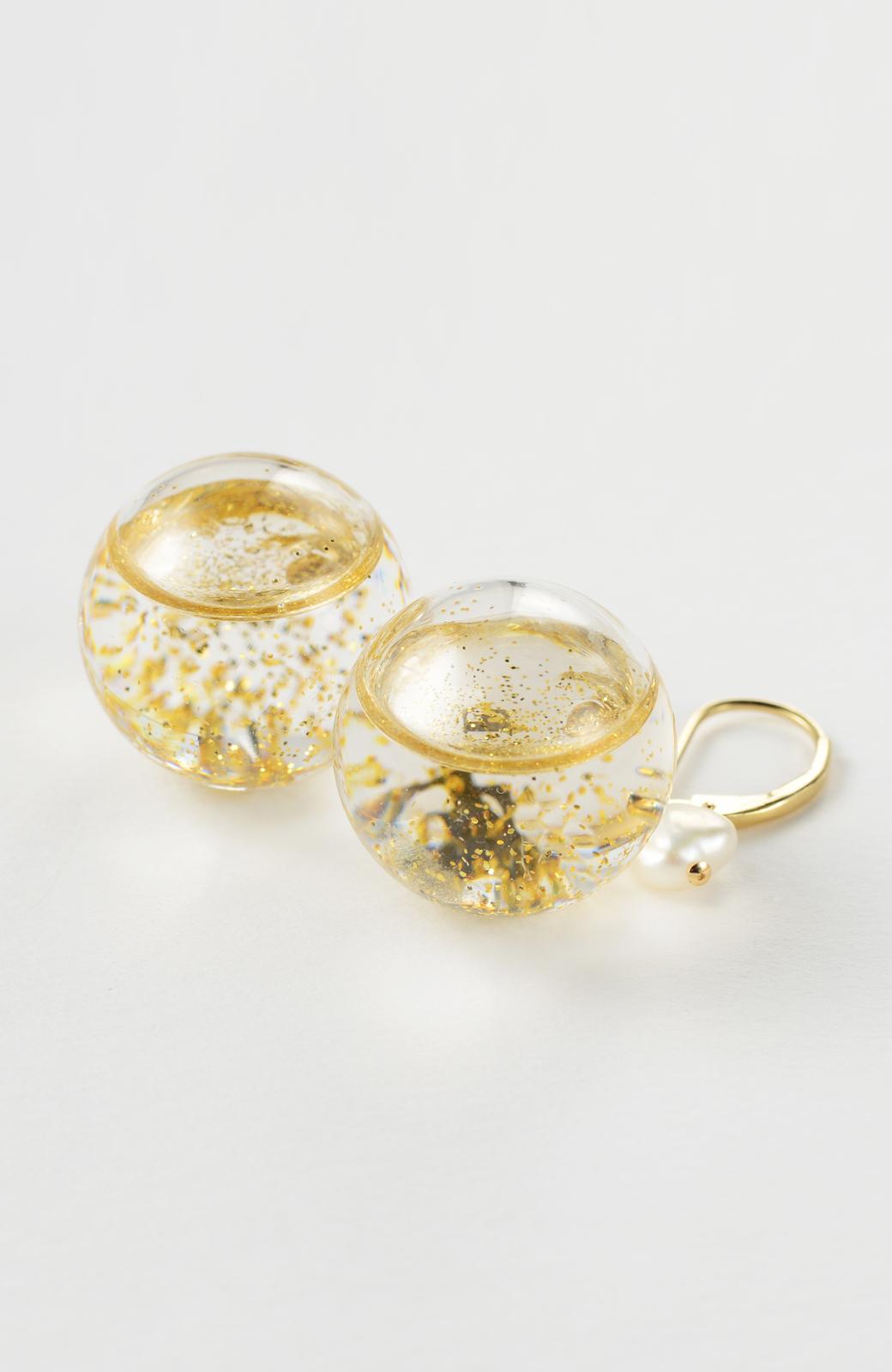 haco! てとひとて KANA MATSUNAMI チャリティー企画 Glass dome  French hookピアス <ゴールド>の商品写真3
