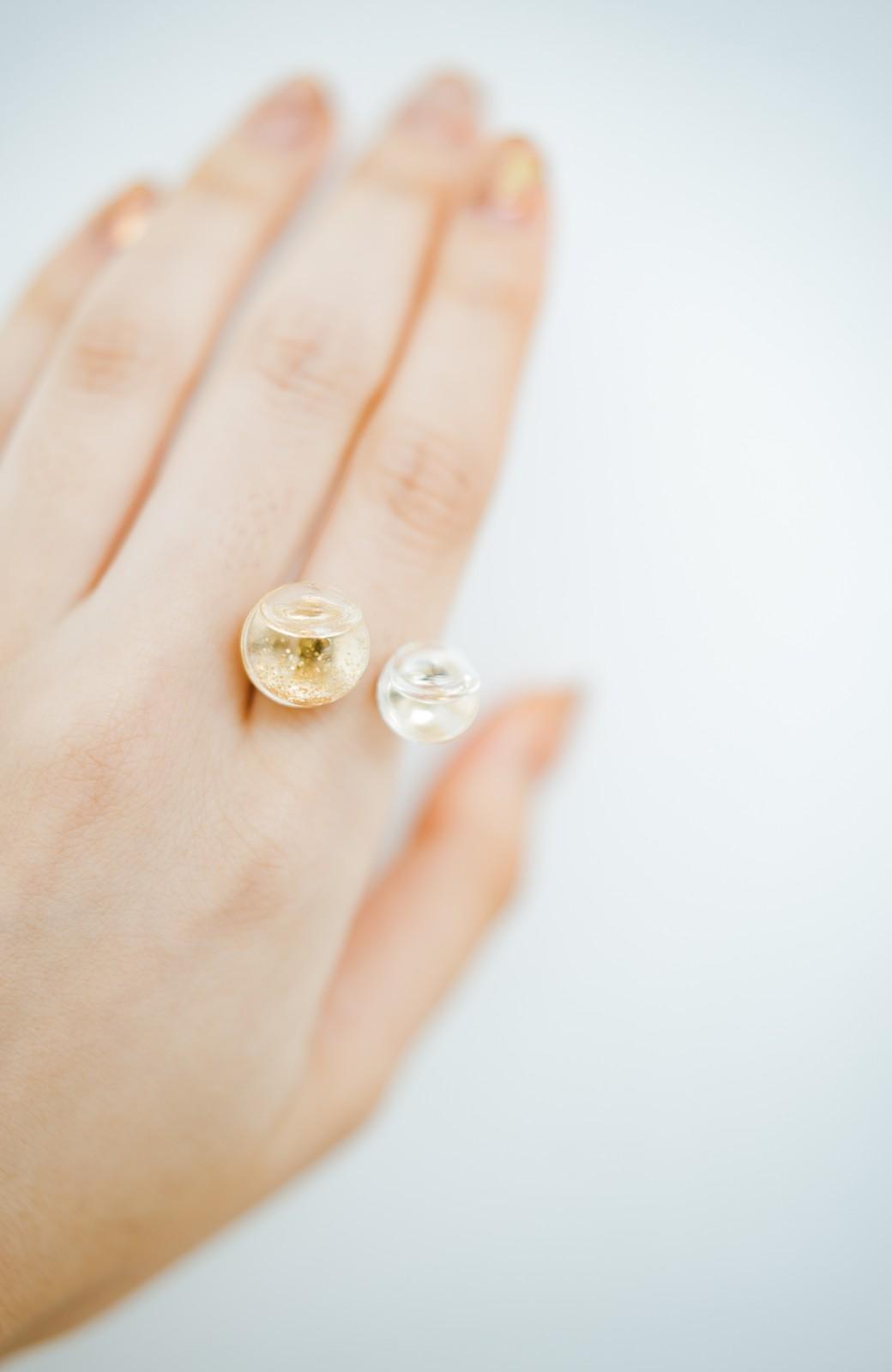 haco! てとひとて KANA MATSUNAMI チャリティー企画 W Glass dome リング <ゴールド>の商品写真3