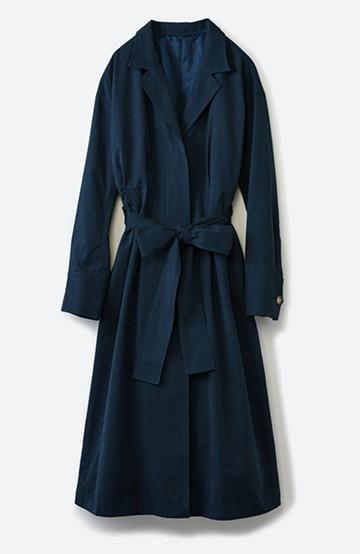 haco! パッと羽織ってかっこよく、きゅっと絞って女っぽい ウエストリボンロングコート <ダークネイビー>の商品写真