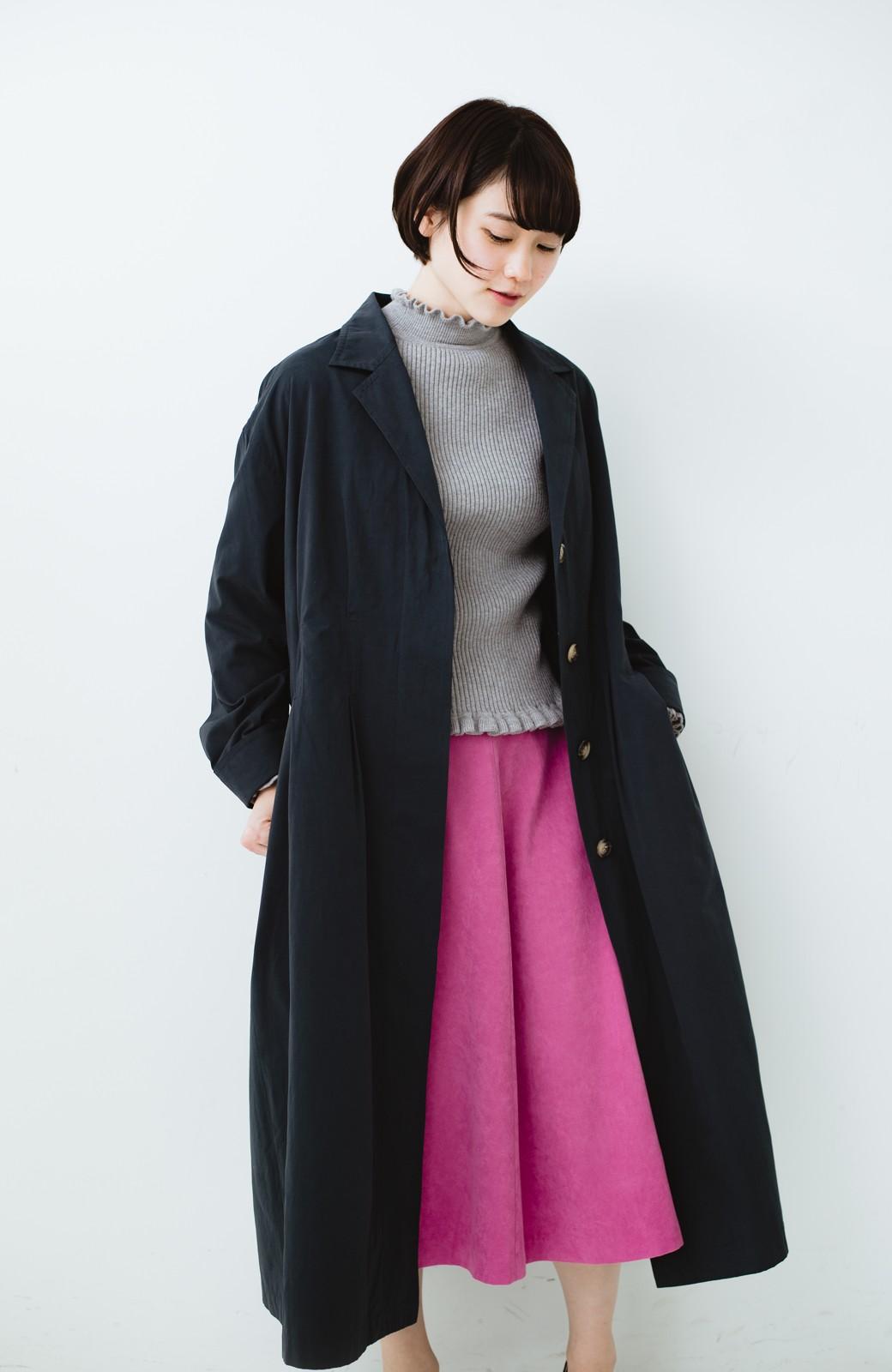 haco! パッと羽織ってかっこよく、きゅっと絞って女っぽい ウエストリボンロングコート <ダークネイビー>の商品写真15