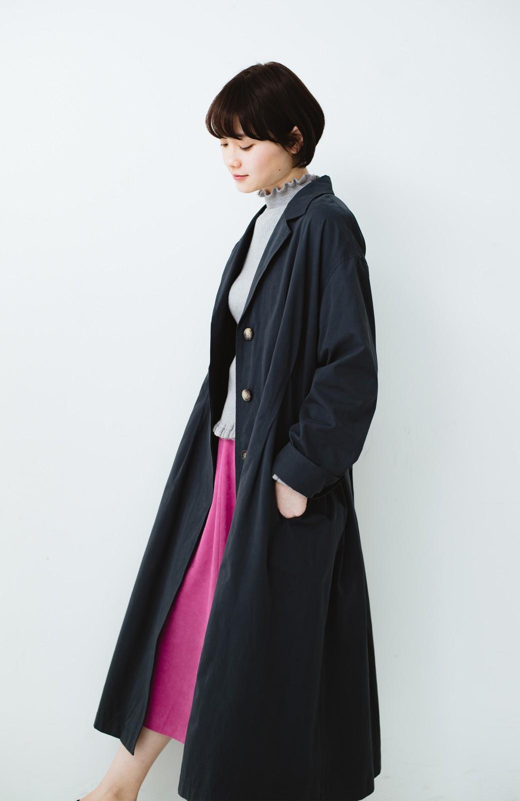 haco! パッと羽織ってかっこよく、きゅっと絞って女っぽい ウエストリボンロングコート <ダークネイビー>の商品写真1