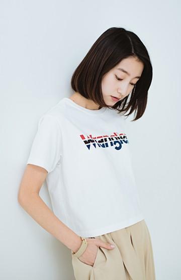 haco! Wrangler ロゴがかわいいクロップドTシャツ <ホワイト>の商品写真