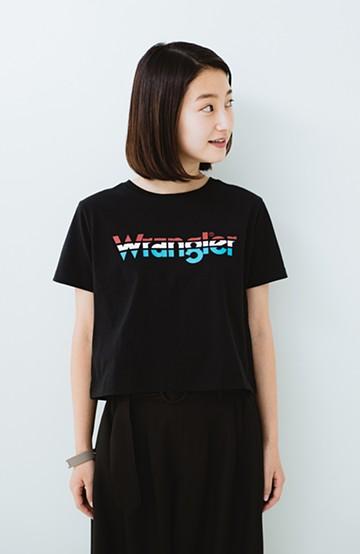 haco! Wrangler ロゴがかわいいクロップドTシャツ <ブラック>の商品写真