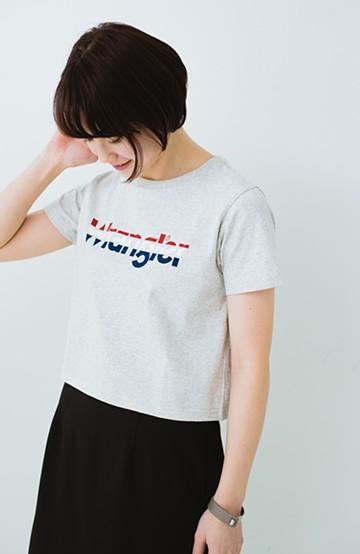 haco! Wrangler ロゴがかわいいクロップドTシャツ <グレー>の商品写真