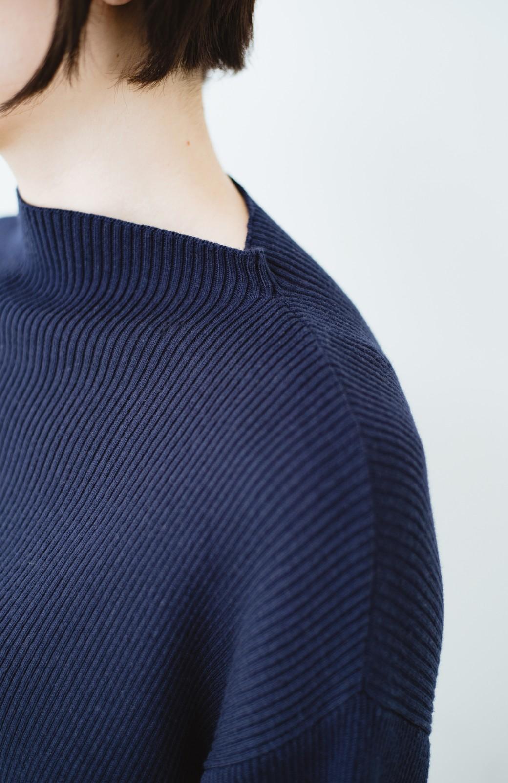 haco! シルク混素材のぷっくり袖リブニット <ネイビー>の商品写真2