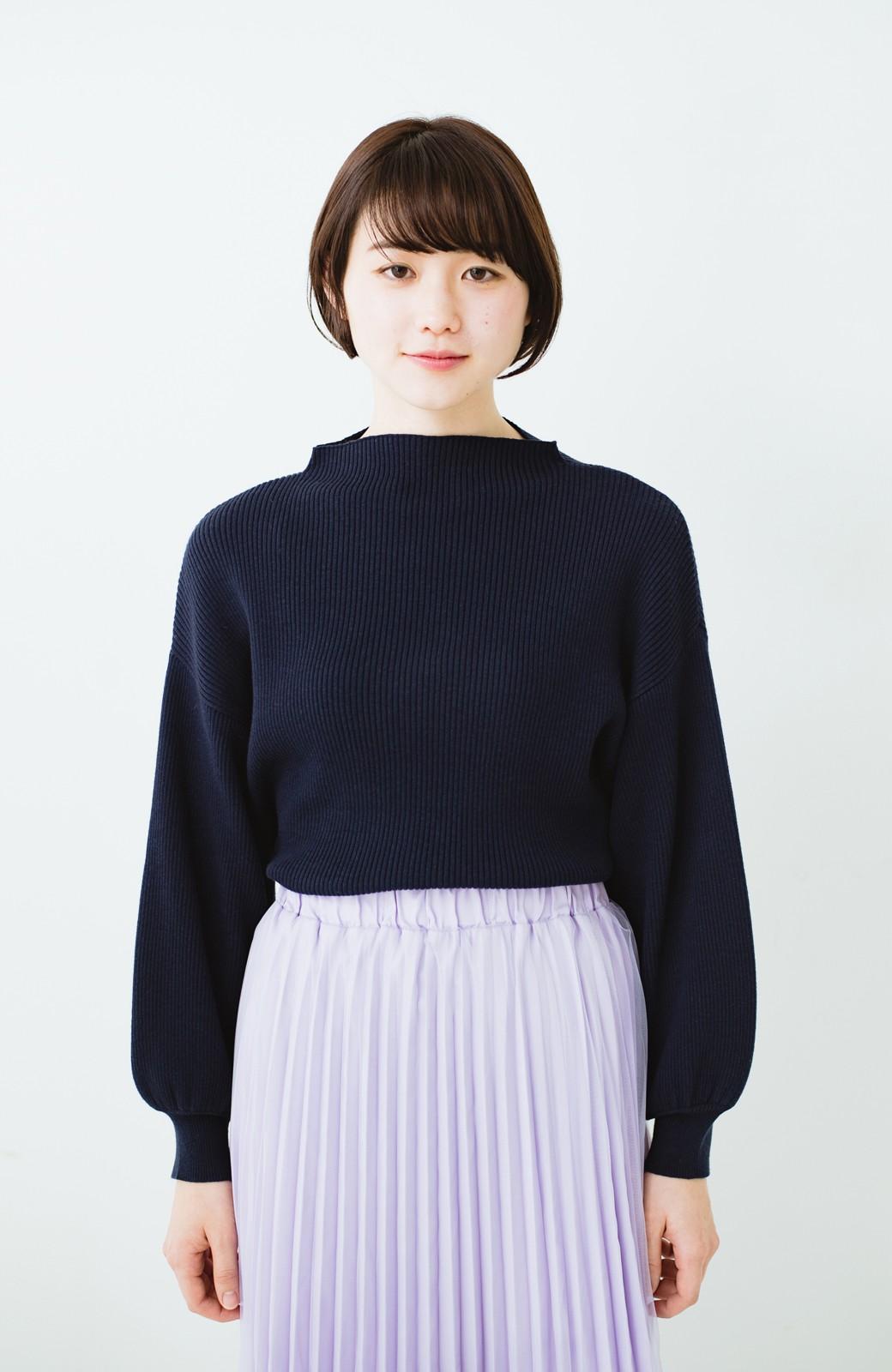 haco! シルク混素材のぷっくり袖リブニット <ネイビー>の商品写真8