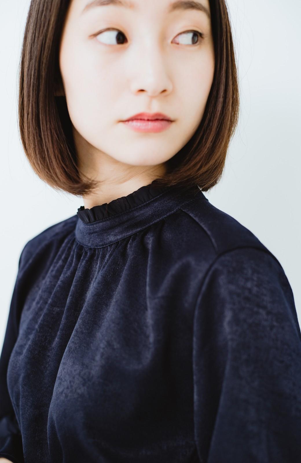 haco! スタンドカラーの女っぽベルト付きワンピース <ネイビー>の商品写真3