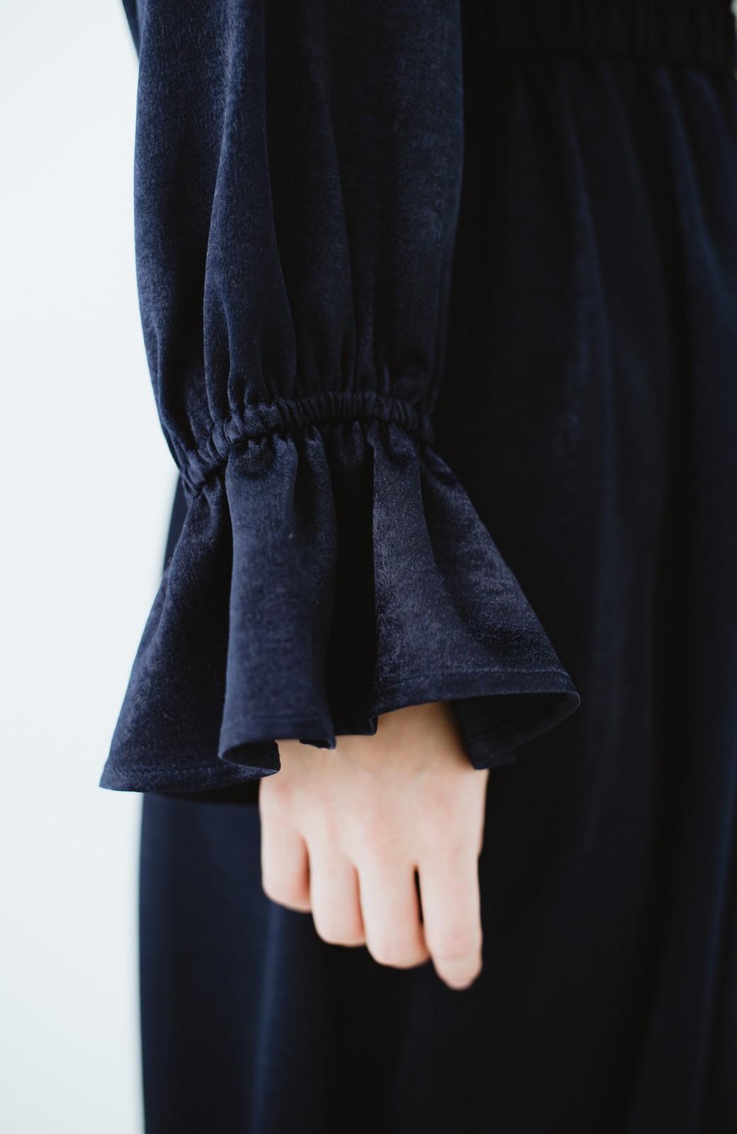 haco! スタンドカラーの女っぽベルト付きワンピース <ネイビー>の商品写真7