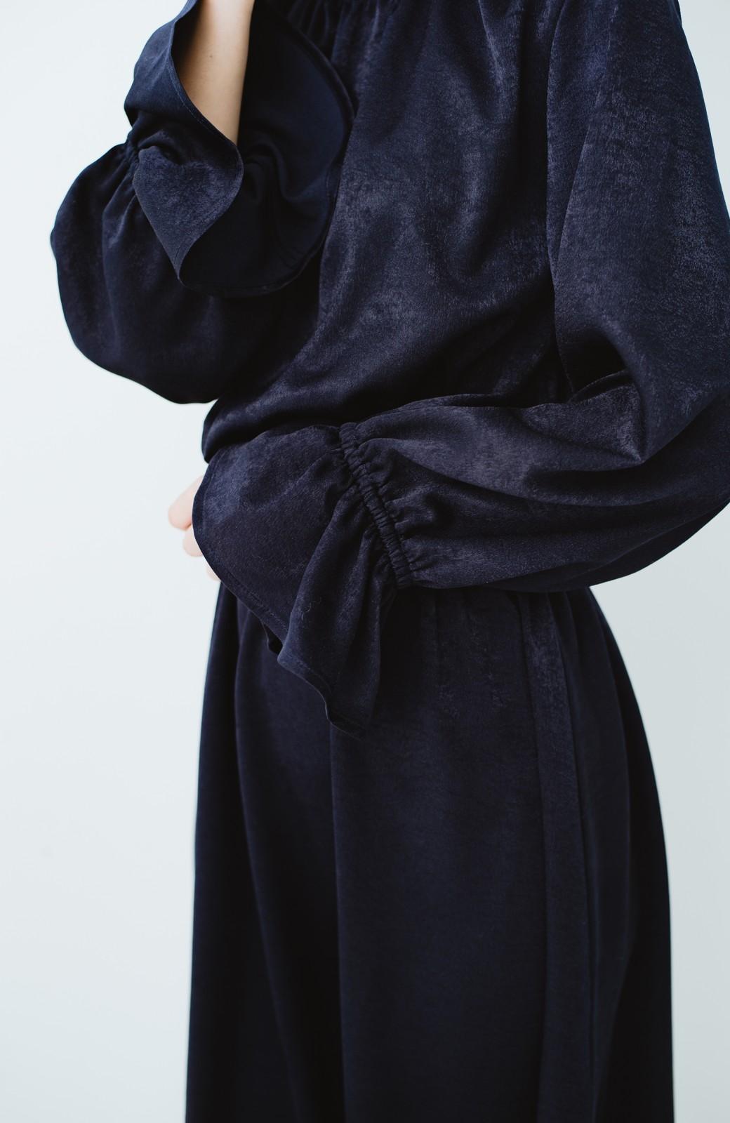 haco! スタンドカラーの女っぽベルト付きワンピース <ネイビー>の商品写真8