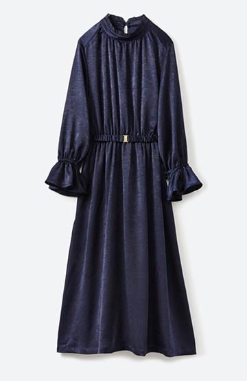 haco! スタンドカラーの女っぽベルト付きワンピース <ネイビー>の商品写真
